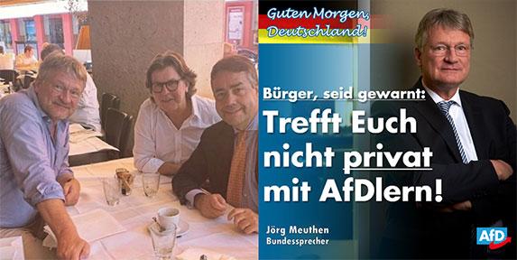 Mission erfüllt. Mit einem Post auf Instagram (links) hatte AfD-Chef Jörg Meuthen den Protest Hunderter Filmschaffender hervorgerufen. Danach stellte er sich auf Facebook (rechts) wieder als Opfer dar. | Screenshots